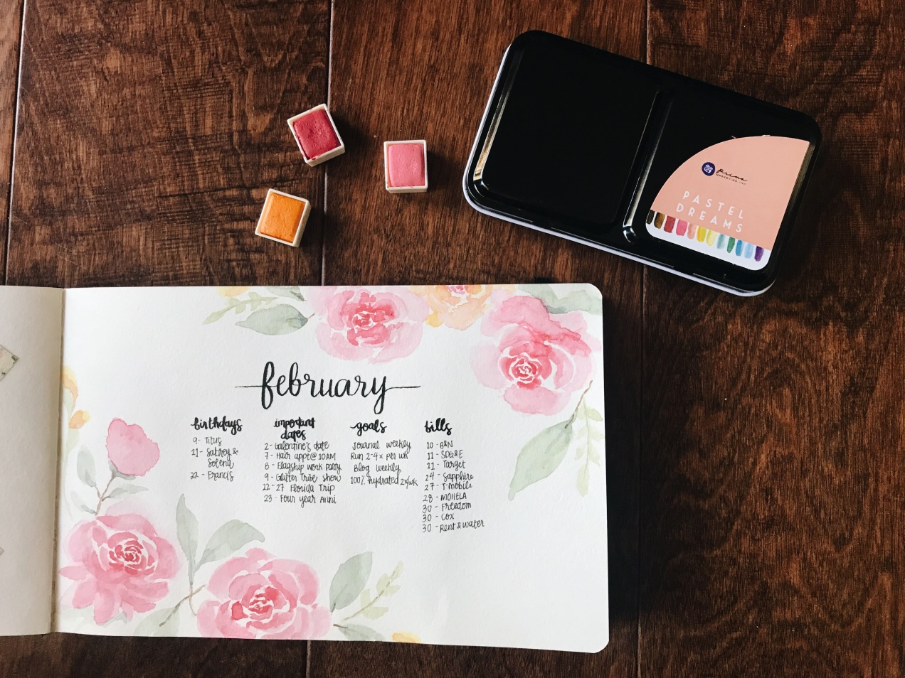 Bullet Journal February Update Watercolor Prima Marketing Pastel Dreams Self Care